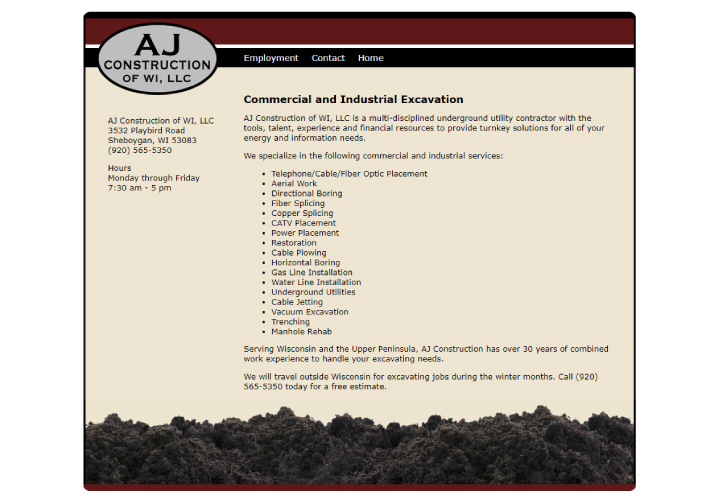 AJ Construction of WI, LLC website before redesign