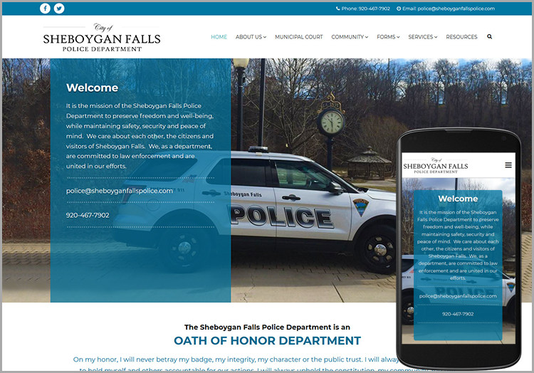 City of Sheboygan Falls Police Department website after redesign