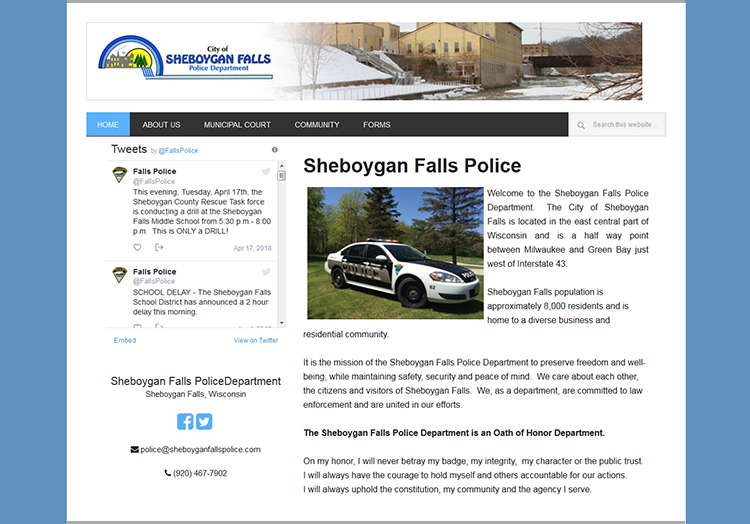 City of Sheboygan Falls Police Department website before redesign