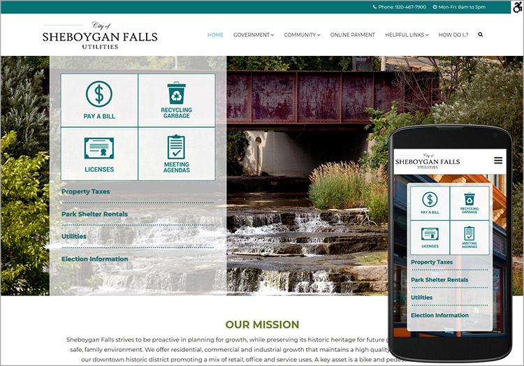 City of Sheboygan Falls/Utilities website after redesign