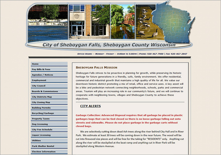 City of Sheboygan Falls/Utilities website before redesign