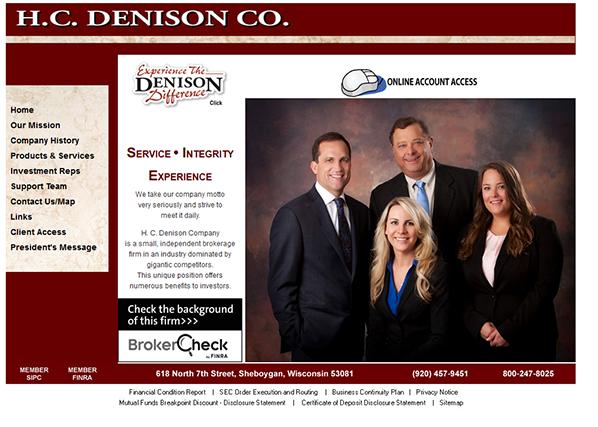 H.C. Denison Co. website before redesign