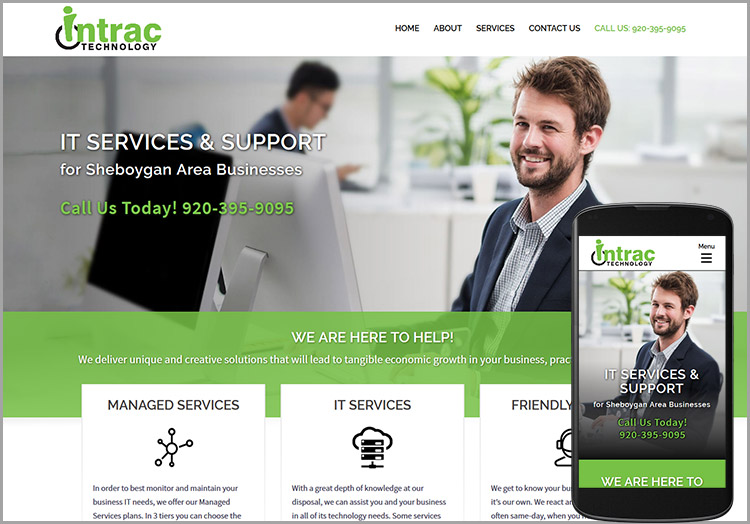 Intrac Technology website after redesign