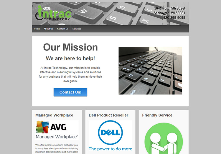 Intrac Technology website before redesign