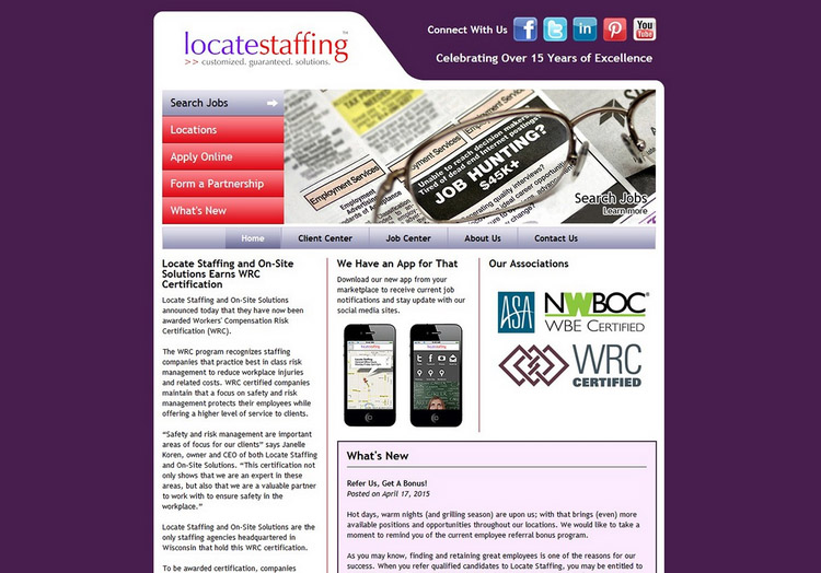 Locate Staffing website before redesign