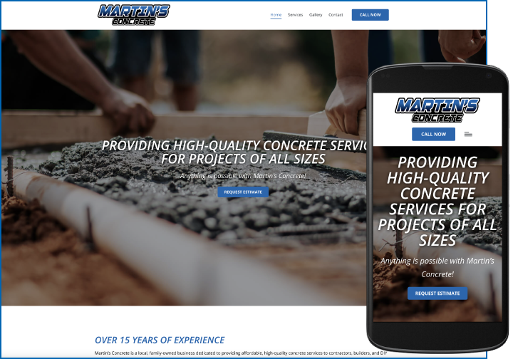 Martin's Concrete after website redesign