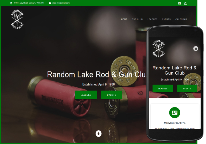Random Lake Rod & Gun Club website after redesign