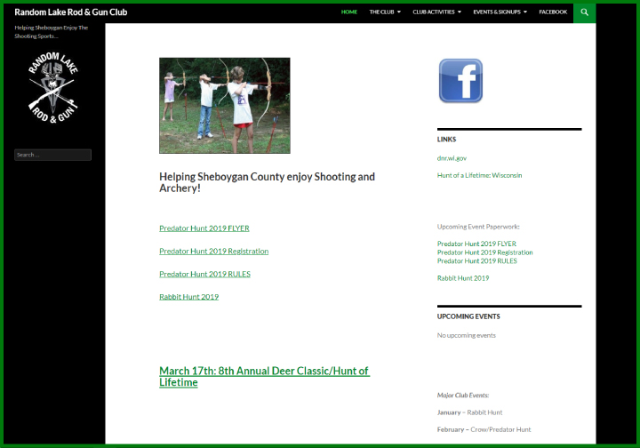 Random Lake Rod & Gun Club website before redesign