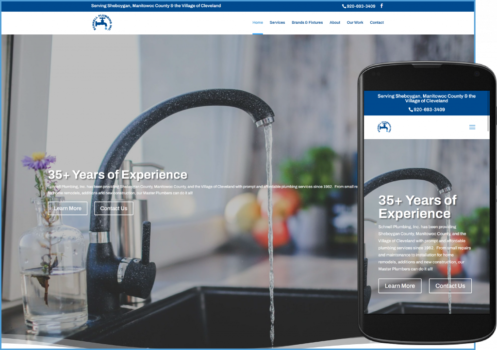 Schnell Plumbing website after redesign
