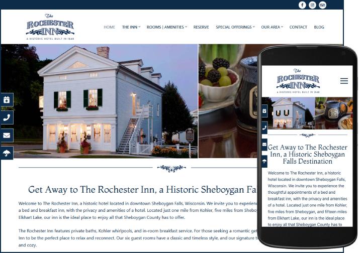 The Rochester Inn website after redesign