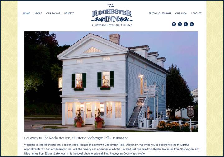 The Rochester Inn website before redesign