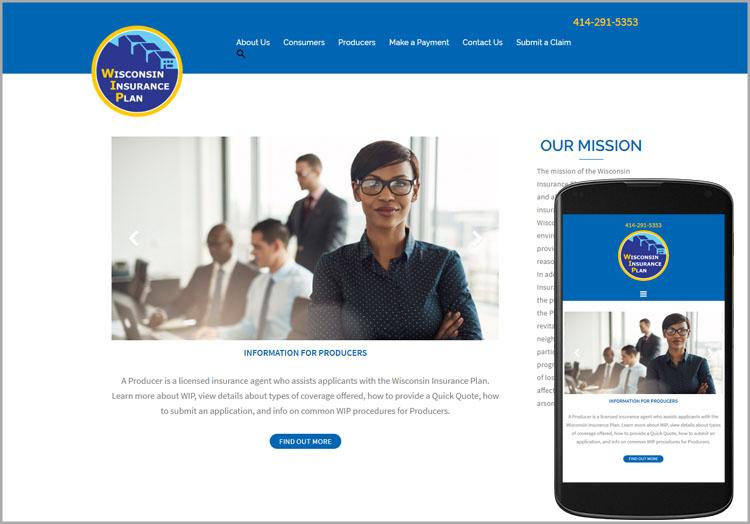 Wisconsin Insurance Plan website after redesign
