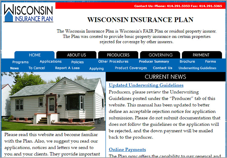 Wisconsin Insurance Plan website before redesign